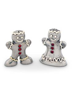 Ginger Bread Couple Pewter Salt and Pepper Set Great for Holiday Entertaining