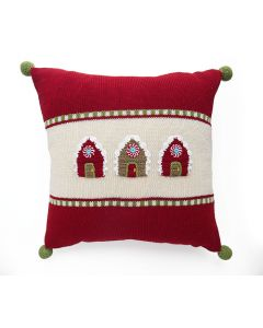 Red and Ecru Gingerbread House Holiday Throw Pillow