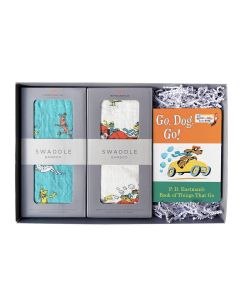 Go, Dog. Go! Bamboo Muslin Baby Swaddle and Childrens Book Gift Set