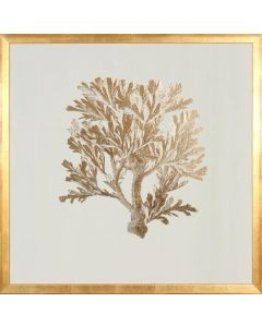 Gold Foil Coral IV Wall Art in Gold Frame