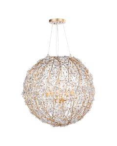 Gold and Crystal Floral Globe Chandelier