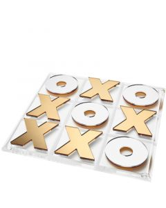 Gold and Silver Mirror Tic Tac Toe Game Board