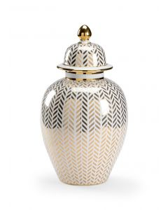 Gold and White Metallic Herringbone Lidded Urn