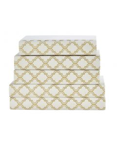 Gold and White Quatrefoil Decorative Book Set