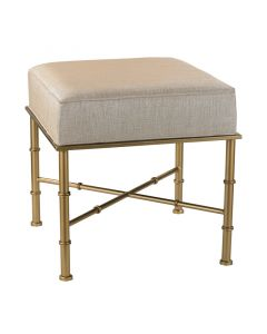 Gold Cane Bench with Cream Metallic Linen Upholstery