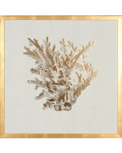 Gold Foil Coral I Wall Art in Gold Frame