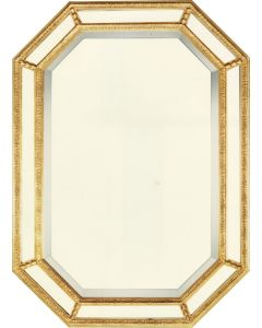 Gold Leaf Geometric Panel Beveled Wall Mirror - Available in 3 Sizes and Custom Options