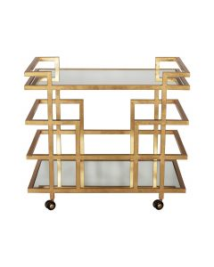 Worlds Away Ireland Gold Leaf Linear Bar Cart with Mirrored Shelves