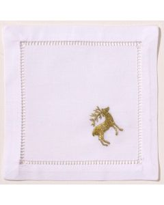 Gold Reindeer Cocktail Napkins, Set of Four