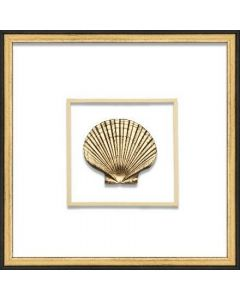 Gold Scallop Shell Coastal Beach Nautical Wall Art in Black & Gold Frame