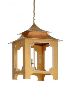 Gold Tole Pagoda Lantern With Silver Trim - ON BACKORDER UNTIL LATE AUGUST 2019