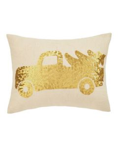 Gold Truck and Tree Sequin Holiday Pillow - OUT OF STOCK