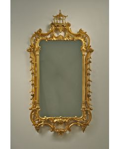 Carver's Guild Grand Pagoda Chippendale Wall Mirror in Antique Gold Leaf