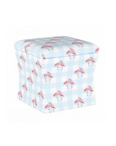Gray Malin For Cloth & Co. Flamingo Gingham Blue Storage Ottoman