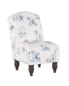 Gray Malin For Cloth & Co. Kid's Toile Blue Slipper Chair