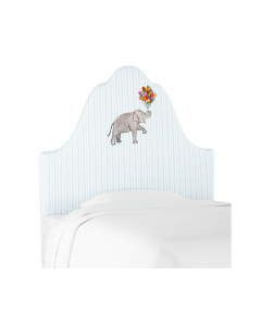 Gray Malin for Cloth & Company Elephant Stripe Blue Kid's Headboard - Available in 3 Sizes