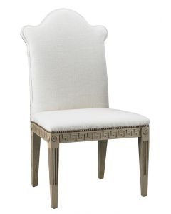 Greek Key Upholstered Armless Chair with Nail Trim