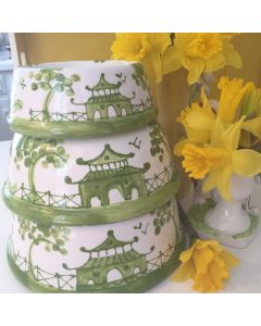 Green Chinoiserie Dog Bowl - Can be Personalized