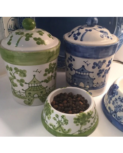 Hand Painted Green Chinoiserie Dog Treat Canister