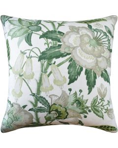 Green Floral Design Linen Pillow - Available in Different Sizes