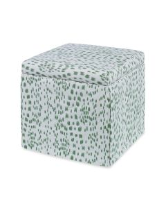 Green Les Touches Upholstered Decorative Square Storage Ottoman