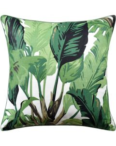 Green Palm Leaf Design Decorative Square Pillow – Available in Two Sizes