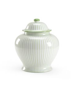 Green and White Striped Porcelain Urn with Lid