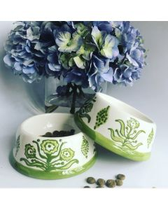 Hand Painted Green Flower Dog Bowl - Can be Personalized