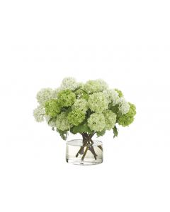 Green & White Faux Snowball Arranged in Glass Cylinder