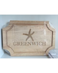 Maple Leaf Personalized Artisan 18''x12'' Scalloped 'Greenwich' Cutting Board with No Handles - IN STOCK IN OUR GREENWICH, CT STORE FOR QUICK SHIPPING