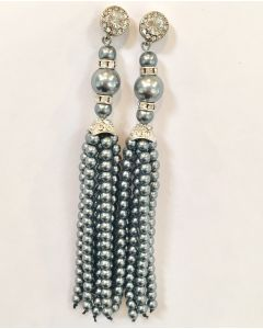 Kenneth Jay Lane Grey Pearl and Crystal Tassel Earrings - IN STOCK IN OUR GREENWICH STORE FOR QUICK SHIPPING