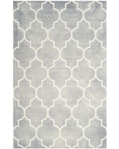 Grey and Ivory Wool Area Rug With Mosaic Design