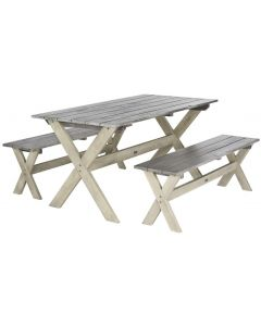 Grey and White 3 Piece Picnic Table Set