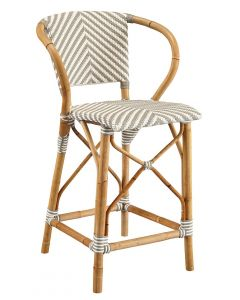 Grey & White French Bistro Chevron Rattan Riviera Counter Stool