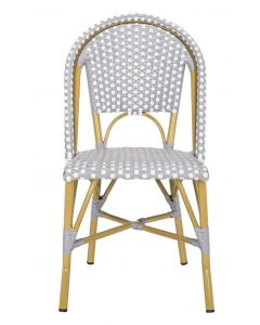 Grey and White Indoor-Outdoor French Bistro Stacking Side Chair - Set of 2