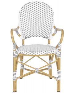 Grey and White Stacking Bistro Armchair