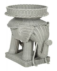 Grey Rattan Elephant Side Table With Storage - CALL TO CONFIRM AVAILABILITY