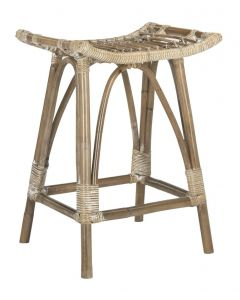 Grey White Wash Contemporary Rattan Counter Stool