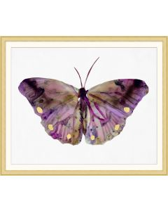Grand Bejeweled Purple Butterfly Framed Wall Art with Gold Leaf Frame