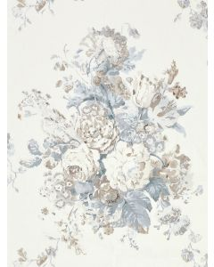 Scalamandre Sybilla Bouquet Linen Fabric in Frost