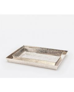Pigeon & Poodle Buren Hammered Nickel  Bathroom Vanity Tray Set