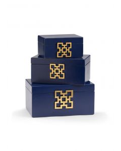 Hampton Leather Decorative Boxes in Blueberry