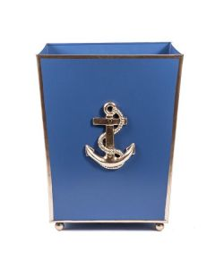 Hand Painted Anchor Design Wastebasket in Navy Blue