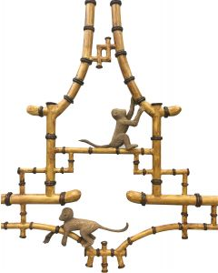 Hand Painted Bamboo Chandelier with Playful Wood-Carved Monkeys