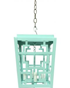 Hand Painted Chinese Fretwork Pendant Chandelier in Mint Green