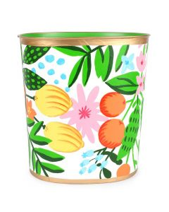 Hand Painted Fruit and Floral Oval Wastebasket