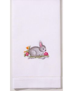 Hand Embroidered Bunny Design Hand Towel - Set of 2