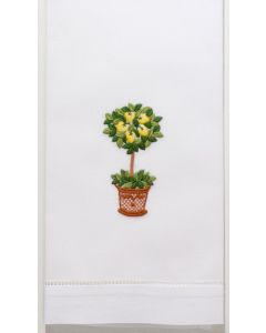 Set of 2 Embroidered Lemon Tree Hand Towels