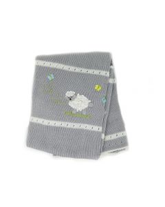 Hand-Knit Baby Blanket with Sheep Design