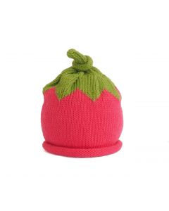 Hand Knit Strawberry Hat for Babies - Available in 3 Sizes- Call to Confirm Availability